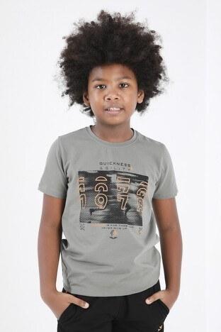 Forinns - Forinns Pamuklu Baskılı Bisiklet Yaka Slim Fit Erkek Çocuk T Shirt F10EG 03233 ÇAĞLA