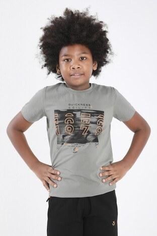 Forinns Pamuklu Baskılı Bisiklet Yaka Slim Fit Erkek Çocuk T Shirt F10EG 03233 ÇAĞLA