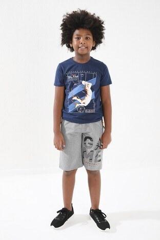 Forinns Pamuklu Baskılı Bisiklet Yaka Slim Fit Erkek Çocuk T Shirt F10EG 03235 İNDİGO