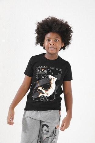 Forinns Pamuklu Baskılı Bisiklet Yaka Slim Fit Erkek Çocuk T Shirt F10EG 03235 SİYAH