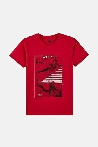 Forinns Pamuklu Baskılı Bisiklet Yaka Slim Fit Erkek Çocuk T Shirt F10EG 03236 FİESTA