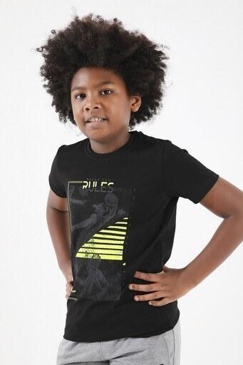 Forinns Pamuklu Baskılı Bisiklet Yaka Slim Fit Erkek Çocuk T Shirt F10EG 03236 SİYAH