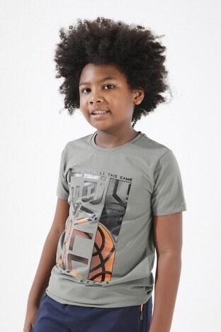 Forinns - Forinns Pamuklu Baskılı Bisiklet Yaka Slim Fit Erkek Çocuk T Shirt F10EG 03237 ÇAĞLA