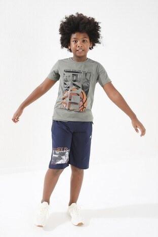 Forinns Pamuklu Baskılı Bisiklet Yaka Slim Fit Erkek Çocuk T Shirt F10EG 03237 ÇAĞLA