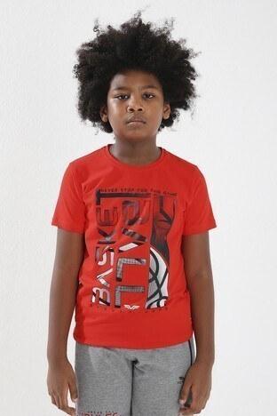 Forinns - Forinns Pamuklu Baskılı Bisiklet Yaka Slim Fit Erkek Çocuk T Shirt F10EG 03237 FİESTA