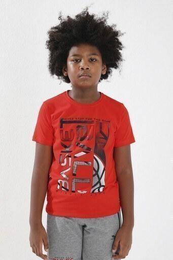 Forinns Pamuklu Baskılı Bisiklet Yaka Slim Fit Erkek Çocuk T Shirt F10EG 03237 FİESTA