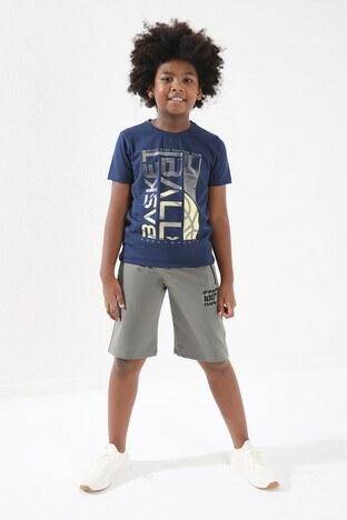 Forinns Pamuklu Baskılı Bisiklet Yaka Slim Fit Erkek Çocuk T Shirt F10EG 03237 İNDİGO