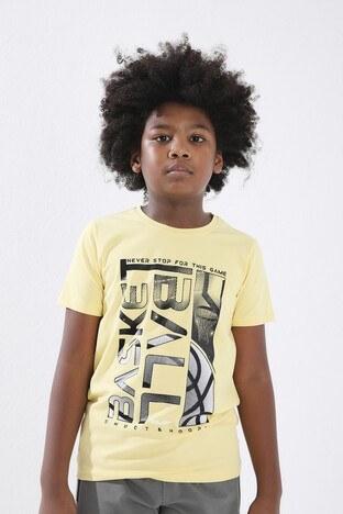 Forinns - Forinns Pamuklu Baskılı Bisiklet Yaka Slim Fit Erkek Çocuk T Shirt F10EG 03237 SARI