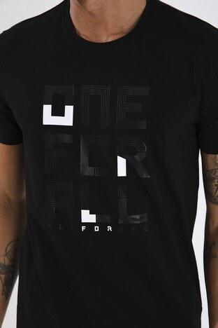 Forinns Pamuklu Slim Fit Bisiklet Yaka Erkek T Shirt F10ER-03155 SİYAH