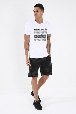 Forinns Pamuklu Slim Fit Bisiklet Yaka Erkek T Shirt F10ER-03158 BEYAZ