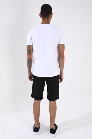 Forinns Pamuklu Slim Fit Bisiklet Yaka Erkek T Shirt F10ER-03171 BEYAZ