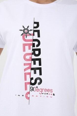 Forinns Slim Fit Baskılı Bisiklet Yaka Pamuklu Bayan T Shirt F10BY-03253 BEYAZ