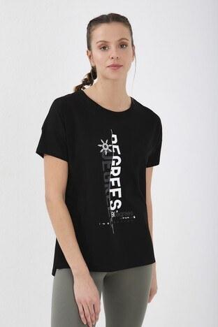 Forinns Slim Fit Baskılı Bisiklet Yaka Pamuklu Bayan T Shirt F10BY-03253 SİYAH