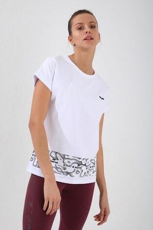 Forinns Slim Fit Baskılı Bisiklet Yaka Pamuklu Bayan T Shirt F10BY-03261 BEYAZ
