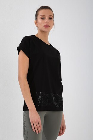 Forinns Slim Fit Baskılı Bisiklet Yaka Pamuklu Bayan T Shirt F10BY-03261 SİYAH