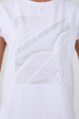 Forinns Slim Fit Baskılı Bisiklet Yaka Pamuklu Bayan T Shirt F10BY-03265 BEYAZ