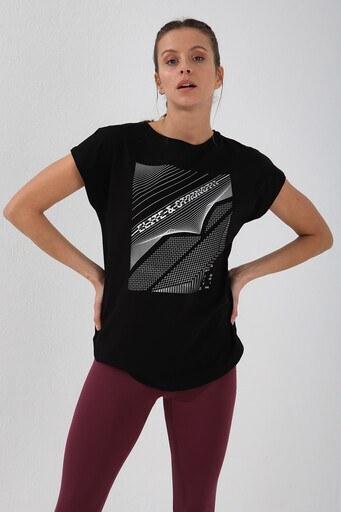 Forinns Slim Fit Baskılı Bisiklet Yaka Pamuklu Bayan T Shirt F10BY-03265 SİYAH
