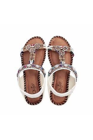 Guja Dolgu Topuk Taşlı Bayan Sandalet 38921Y1512 BEYAZ