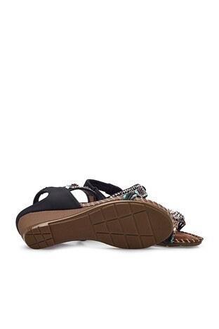 Guja Dolgu Topuk Taşlı Bayan Sandalet 38921Y1512 SİYAH