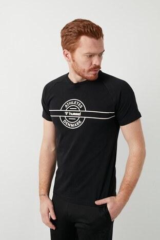 Hummel Baskılı Bisiklet Yaka % 100 Pamuk Erkek T Shirt 911287-2001 SİYAH