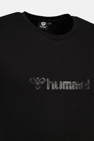 Hummel Baskılı Bisiklet Yaka % 100 Pamuk Erkek T Shirt 911303-2001 SİYAH