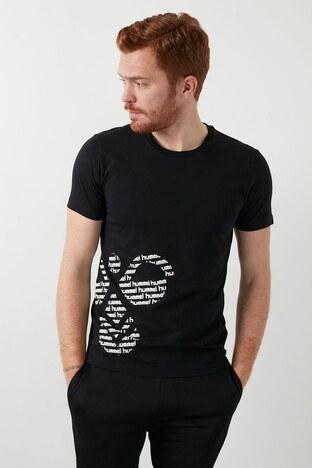 Hummel - Hummel Baskılı Bisiklet Yaka % 100 Pamuk Erkek T Shirt 911377-2001 SİYAH