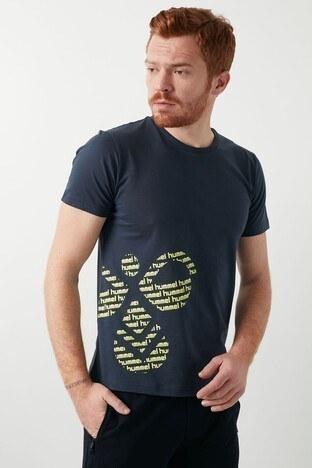 Hummel Baskılı Bisiklet Yaka % 100 Pamuk Erkek T Shirt 911377-7429 LACİVERT
