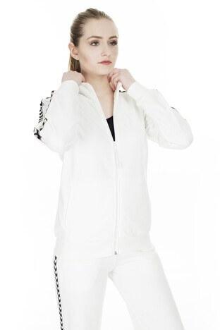 Hummel - Hummel Fermuarlı Kadın Sweat 920798-9003 KIRIK BEYAZ