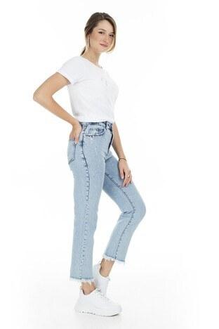 İkoll Taş Detaylı Yüksek Bel Jeans Bayan Kot Pantolon 52621755 MAVİ