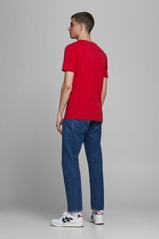 Jack & Jones % 100 Pamuklu Essentials Jjelogo Erkek T Shirt 12172368 KIRMIZI