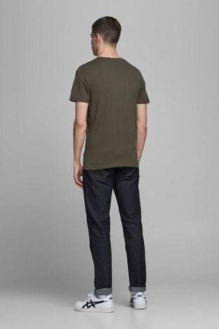Jack & Jones % 100 Pamuklu Essentials Jjelogo Erkek T Shirt 12172368 KOYU HAKİ