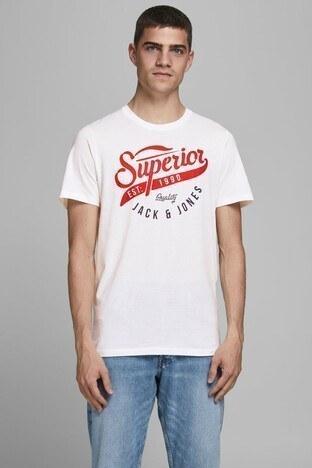 Jack & Jones % 100 Pamuklu Essentials Jjelogo Erkek T Shirt 12172368 KREM