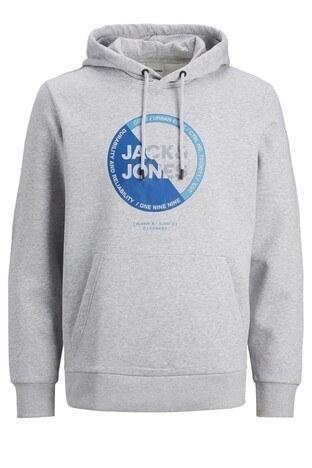 Jack & Jones Core Baskılı Kanguru Cepli Pamuklu Kapüşonlu Erkek Sweat 12178355 AÇIK GRİ