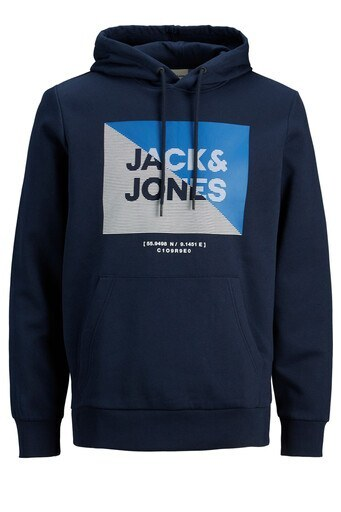 Jack & Jones Core Baskılı Kanguru Cepli Pamuklu Kapüşonlu Erkek Sweat 12178355 LACİVERT