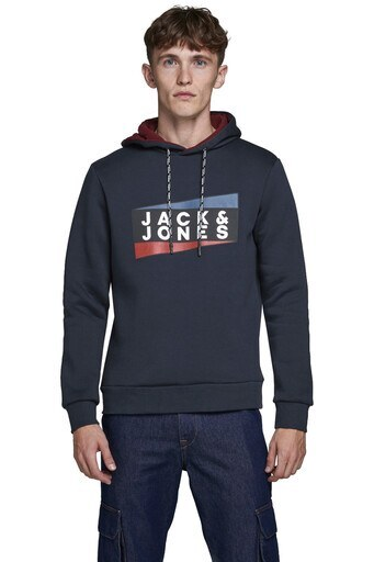 Jack & Jones Core Jcoanton Kapüşonlu Erkek Sweat 12177950 LACİVERT