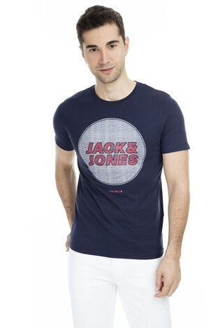 Jack & Jones Core Jcodustin Tee Sıfır Yaka Erkek T Shirt 12148559 LACİVERT