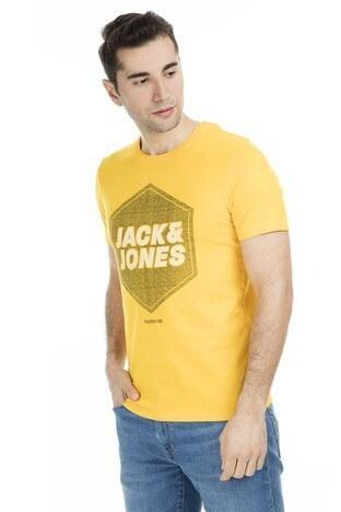 Jack & Jones - Jack & Jones Core Jcodustin Tee Sıfır Yaka Erkek T Shirt 12148559 SARI