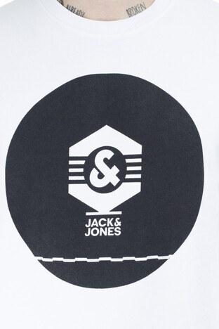 Jack & Jones Core Jcoknown Baskılı Erkek Sweat 12156248 BEYAZ