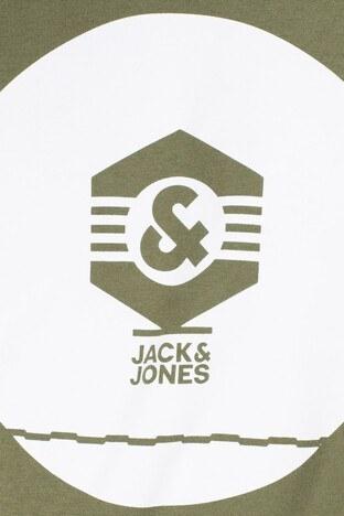 Jack & Jones Core Jcoknown Baskılı Erkek Sweat 12156248 HAKİ