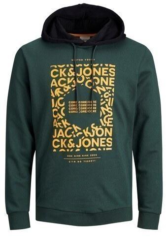 Jack & Jones Core Jcokurt Baskılı Pamuklu Kapüşonlu Erkek Sweat 12175271 PETROL