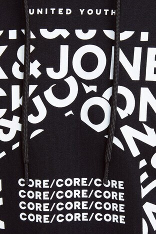 Jack & Jones Core Jcokurt Baskılı Pamuklu Kapüşonlu Erkek Sweat 12175271 SİYAH