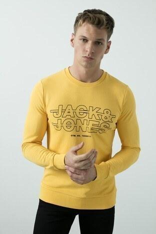 Jack & Jones Core Jcorain Pamuklu Bisiklet Yaka Slim Fit Erkek Sweat 12180201 SARI