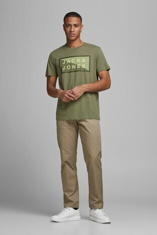 Jack & Jones Core Jcoshawn Erkek T Shirt 12185035 AÇIK HAKİ