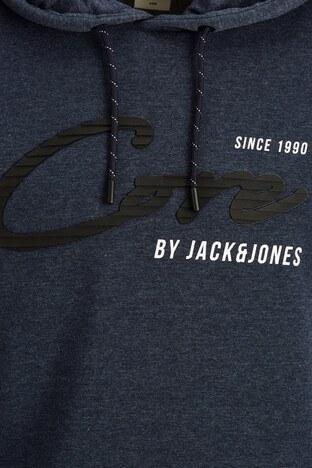 Jack & Jones Core Jcostone Baskılı Pamuklu Kapüşonlu Erkek Sweat 12175246 LACİVERT