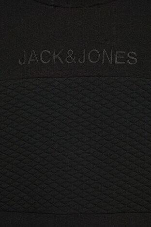 Jack & Jones Core Jcovettel Pamuklu Bisiklet Yaka Erkek Sweat 12177955 SİYAH