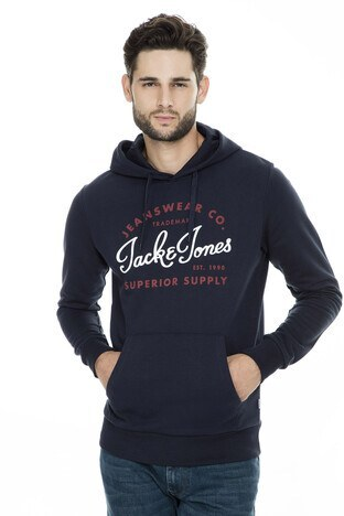 Jack & Jones - Jack & Jones Essentials Jjelogo Erkek Sweat 12157324 LACİVERT