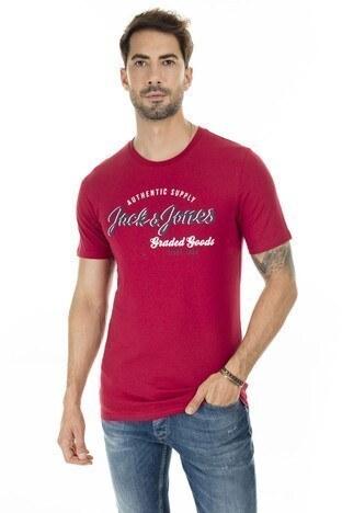 Jack & Jones - Jack & Jones Essentials Jjelogo Slim Fit Erkek T Shirt 12164848 KIRMIZI