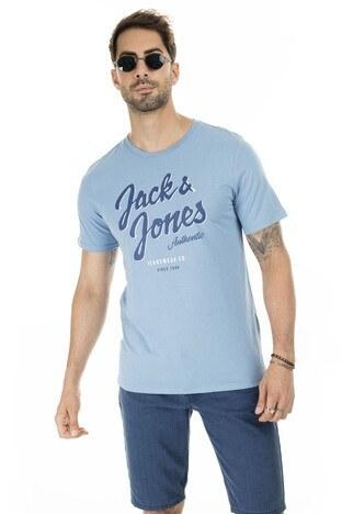 Jack & Jones Essentials Jjelogo Slim Fit Erkek T Shirt 12164848 MAVİ