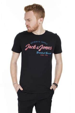 Jack & Jones - Jack & Jones Essentials Jjelogo Slim Fit Erkek T Shirt 12164848 SİYAH