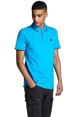 Jack & Jones - Jack & Jones Essentials Jjestone Polo Yaka Erkek T Shirt 12147114 TURKUAZ